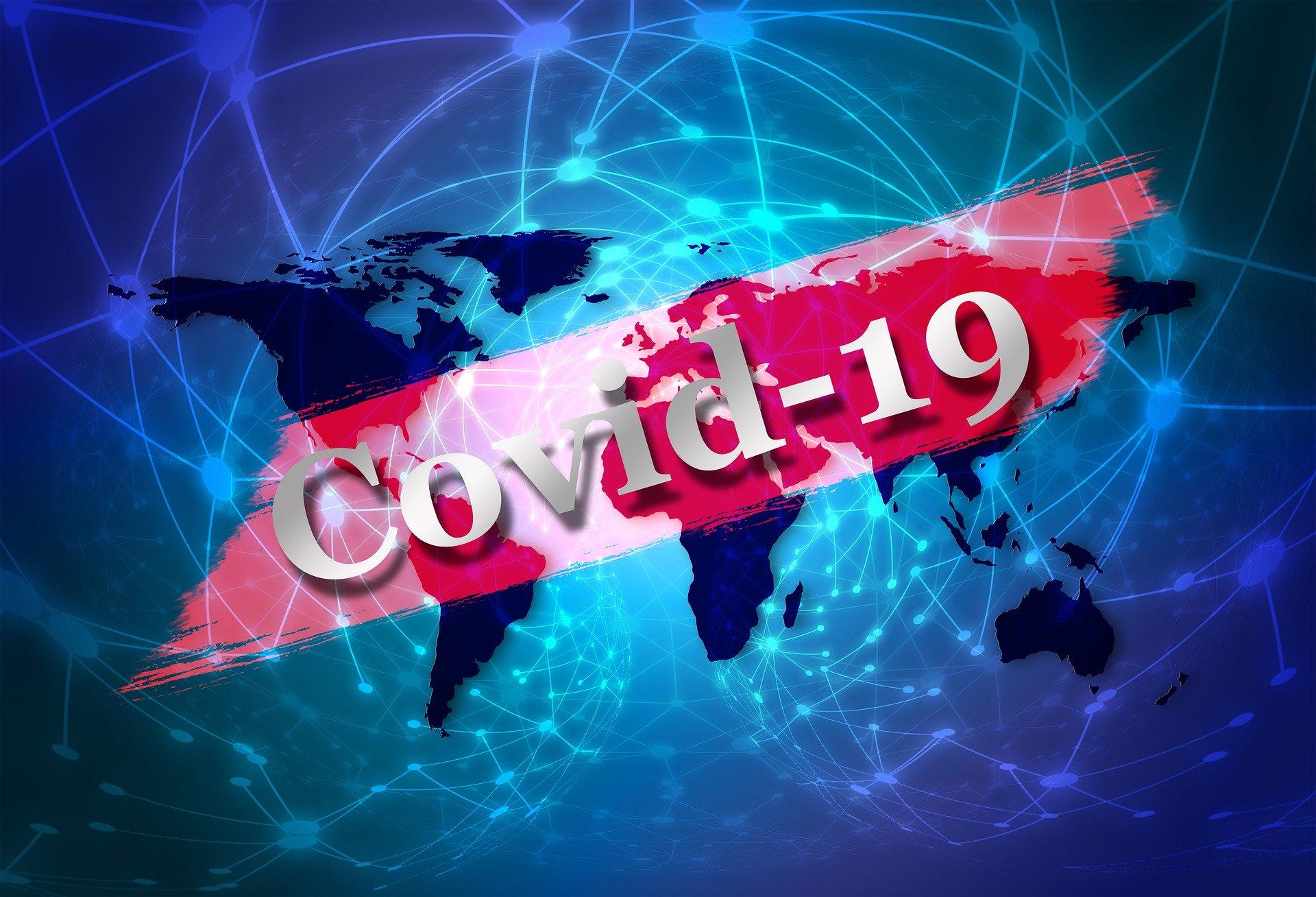 Grafik, die das Wort Covid-19 mit der Welt vernetzt