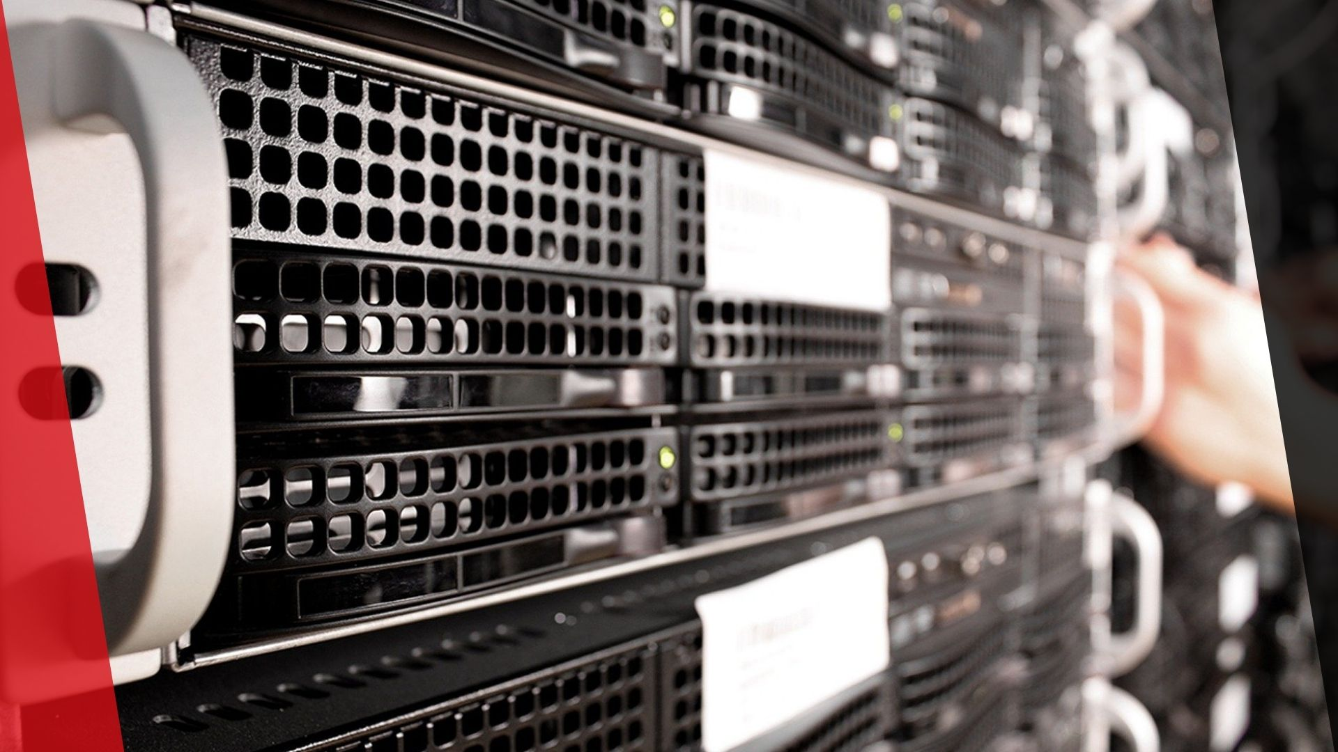 ein server-rack, mit mehreren servern in nahaufnahme